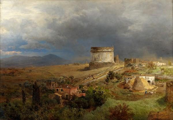 Oswald Achenbach (1827-1905) Via Appia et Mausolée de Cecilia Metella, 1886