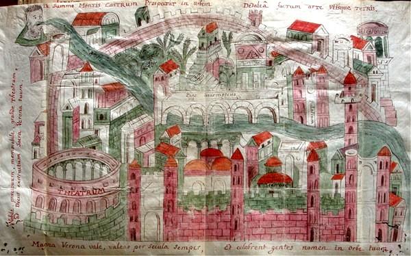 Une ancienne carte de Vérone, l' «Iconografia rateriana» du 9e siècle