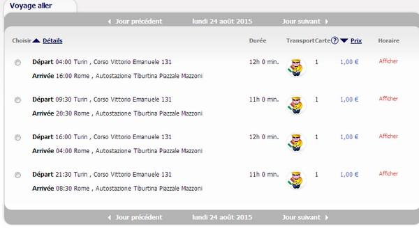 Un exemple de tarifs et d'horaires entre Turin et Rome pour août 2015